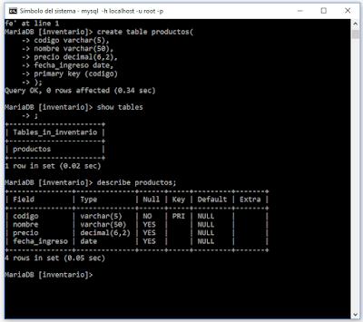Crear y Consultar tablas en la base de datos MySQL