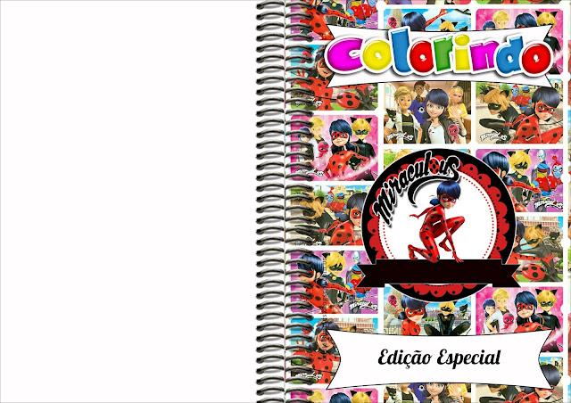 Imprimible carátula de libro para colorear de Prodigiosa Ladybug.