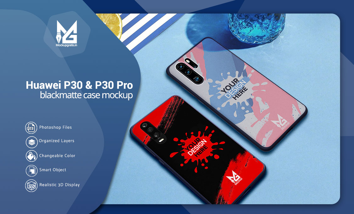 PSD Mockup Blackmatte Case Huawei P30 dan P30 Pro
