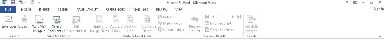 Menu Mailing Microsoft Word
