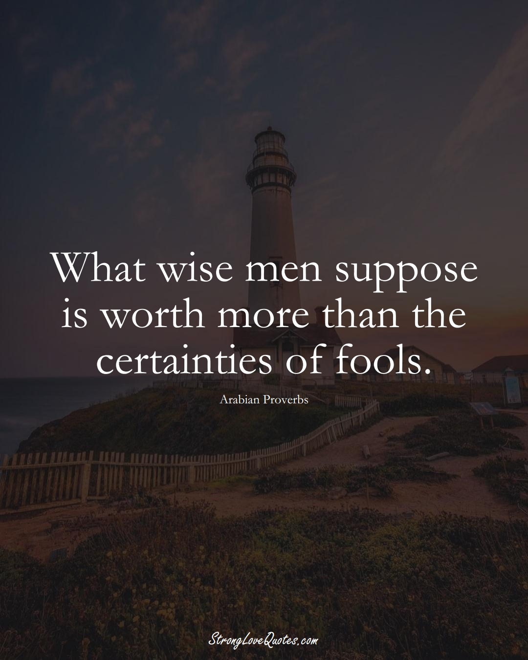What wise men suppose is worth more than the certainties of fools. (Arabian Sayings);  #aVarietyofCulturesSayings
