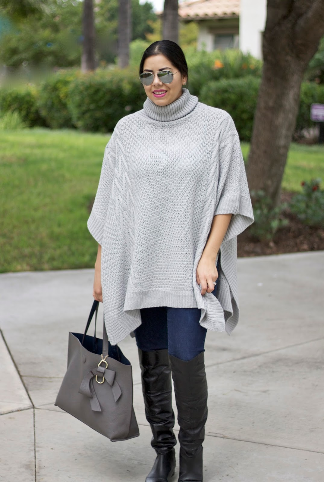 gray poncho turtleneck, the perfect poncho, stylish ponchos 2015, poncho trend