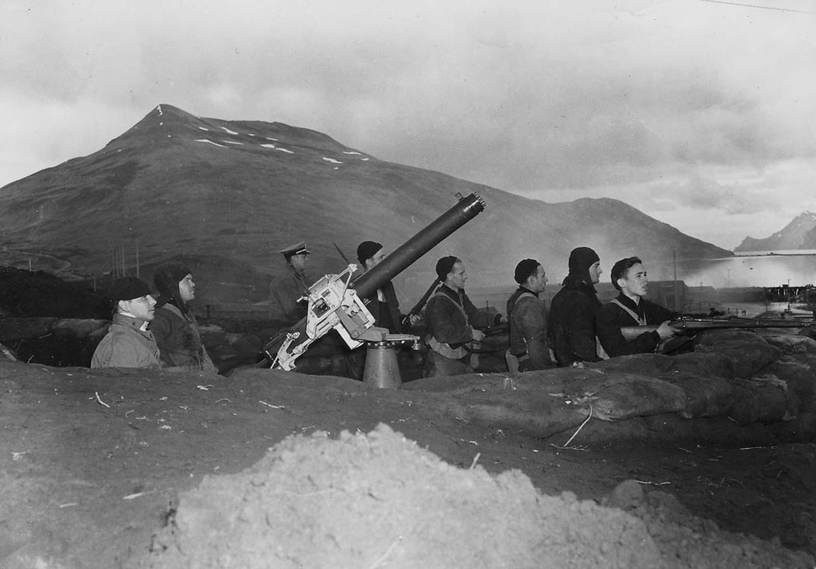 Defending Dutch Harbor, Alaska during the Japanese air attacks of June 3-4, 1942.