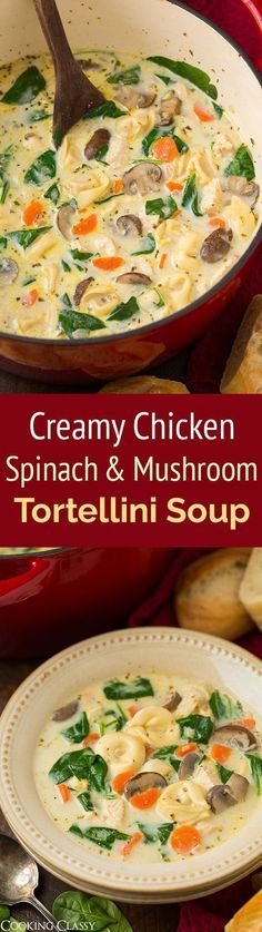 A favorite tortellini soup recipe! This is loaded with hearty bits of chicken, cheesy tortellini, fresh nutritious spinach, and flavorful tender mushrooms and a creamy garlic and herb broth. What's not to love? It's the perfect cozy recipe for a chilly day!