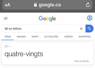 Ecrire le nombre 80 en lettres sur Google