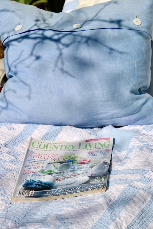 Read a beautiful magazine for ways to celebrate the season as you relax on a chaise in backyard bluebonnets