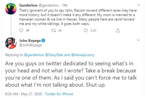 john boyega twitter racist
