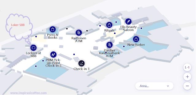 Lokasi Loker SBB di Bandara Zurich