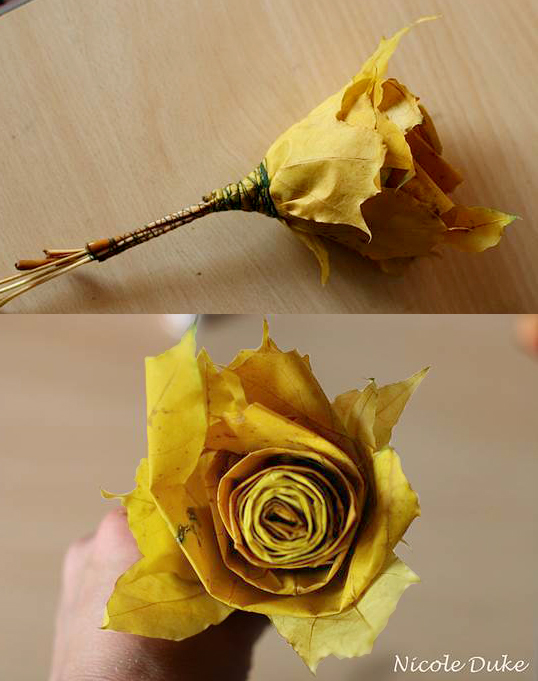 yellow oak leaves are the material to create roses.