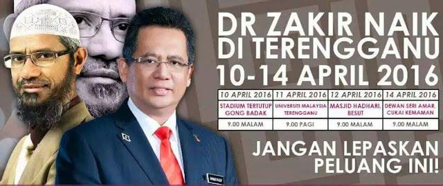 Dr Zakir Naik Di Terengganu 10 hingga 14 April 2016 ,Dr Zakir Naik