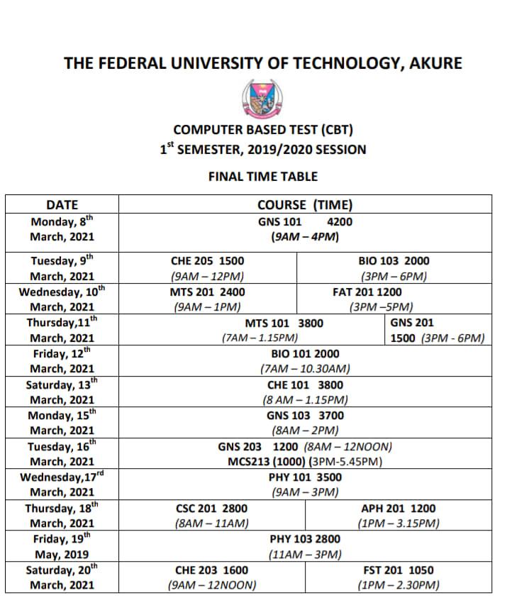 FUTA CBT Exam Timetable for 1st Semester 2019/2020