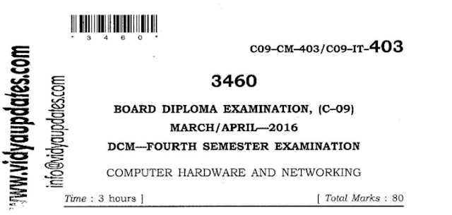SBTET AP C-09 COMPUTER HARDWARE AND NETWORKING PREVIOUS QUESTION PAPER MARCH-APRIL 2016