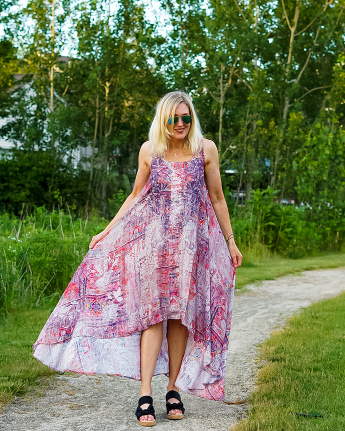 colorful boho maxi dress