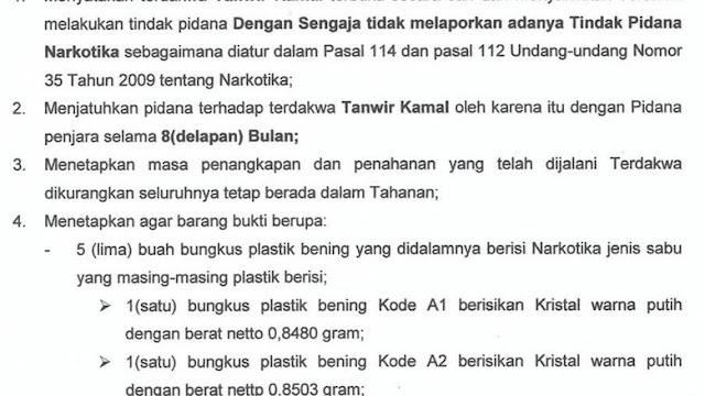 Waduh! Kurir 4 Kg Sabu di Palembang Hanya Dibui 8 Bulan