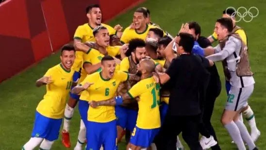 Brazil wins Olympic gold for the second time; Malcom netted for the victory.