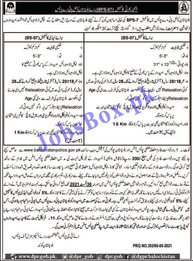 Balochistan Coastal Highway Police Constables Jobs 2021 – Application Form