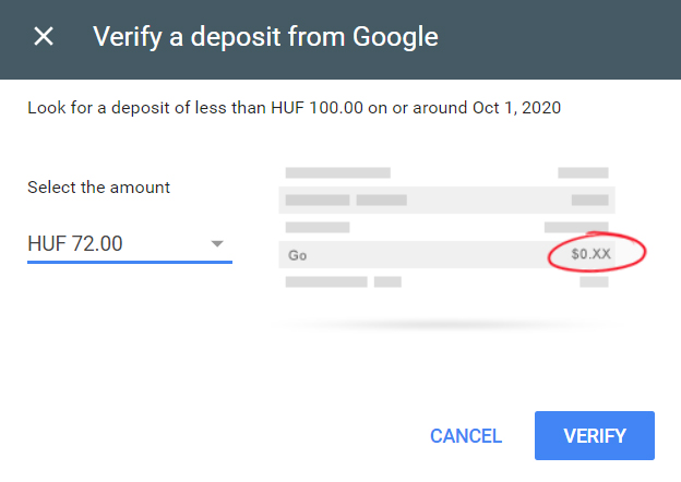 Google deposited 72 HUF
