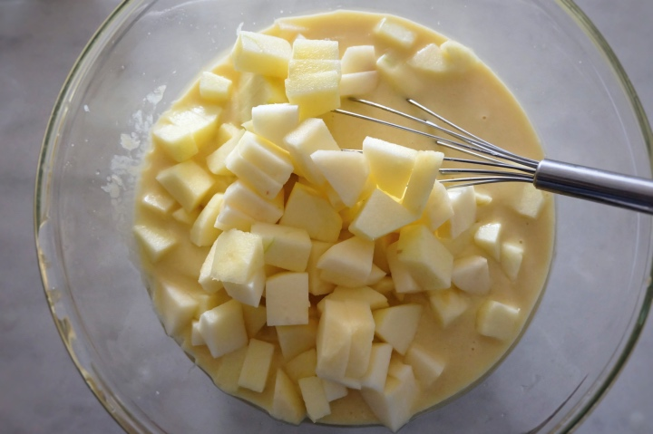 add apples to batter