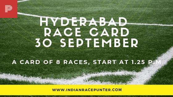 Hyderabad Race Card 30 September