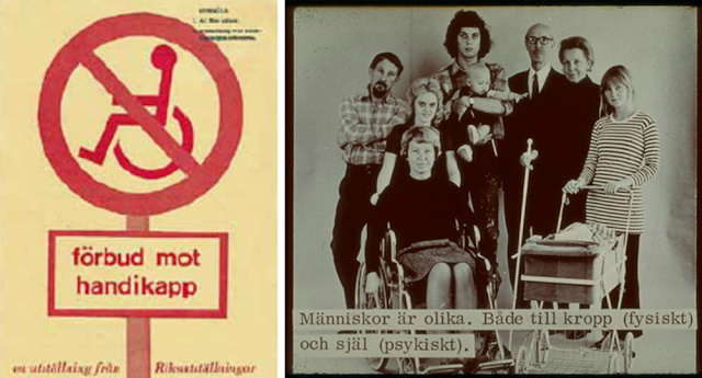 "Poster and image from the exhibition Prohibition of Handicap. The text on the right reads: ""People are different. Both in the body (physical) and the soul (psychical)."""
