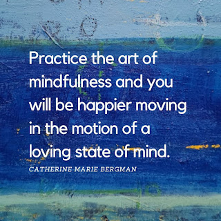 Practice the art of mindfulness text on blue painting background