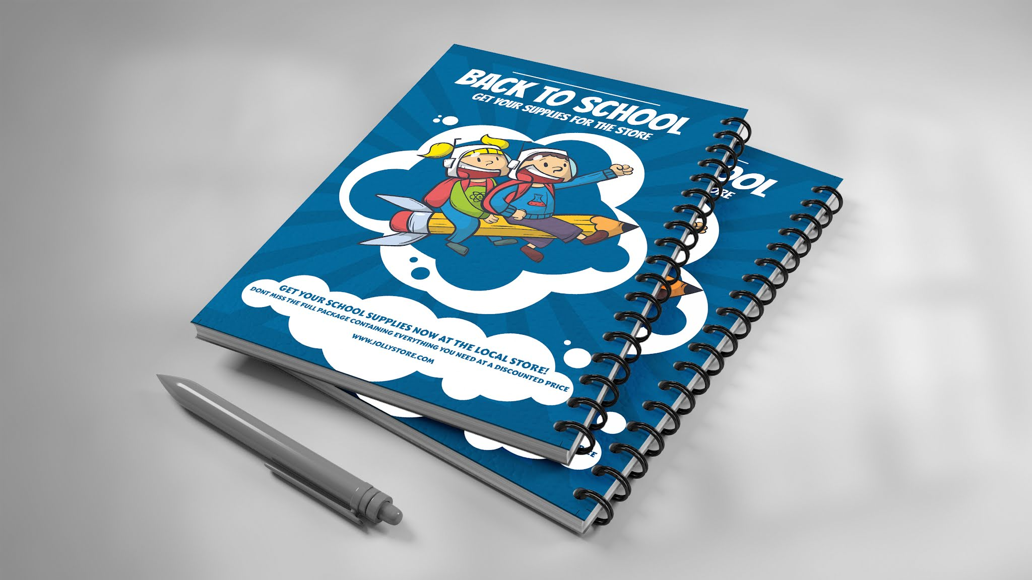 Download a book cover and a memo for schools PSD, suitable for a beautiful blue color flyer poster