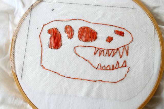 free children embroidery design dinosaur