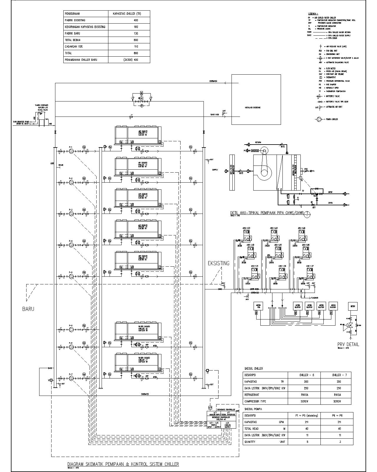 Building utilities water cooled chiller schematic diagram
