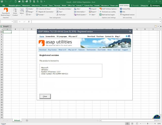 Screenshot ASAP Utilities for Excel 7.6.2 Full Version