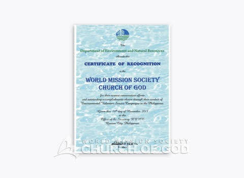 Certificate of Recognition mula sa DENR