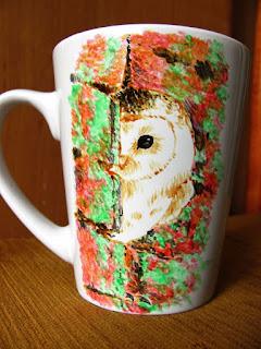 Taza DIY pintada a mano con buhó
