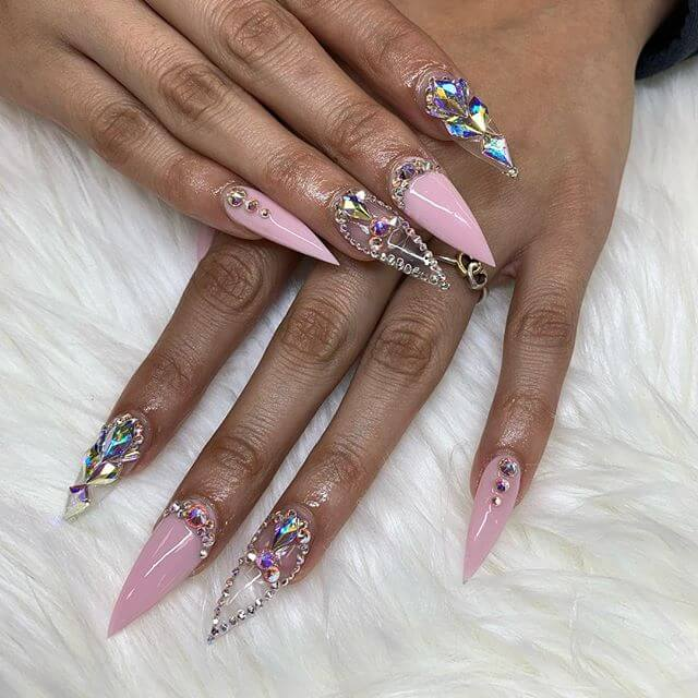 21 Latest Stunning Glitzy Nail Art Designs With Diamonds To