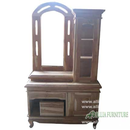 Meja Rias Kayu Jati Model Cakra Rak Allia Furniture
