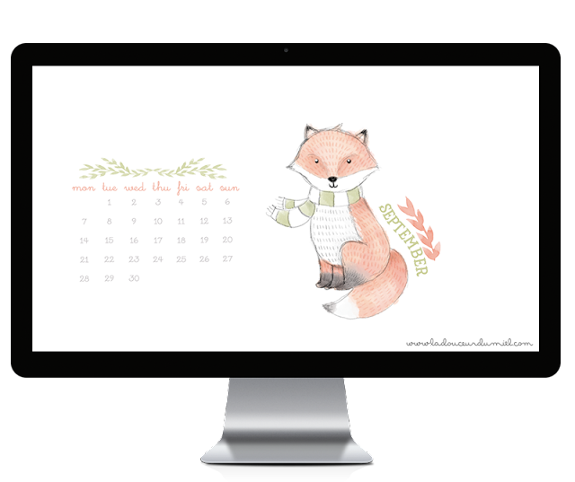 September 2015 free to download desktop wallpaper with a fox with a green and white scarf