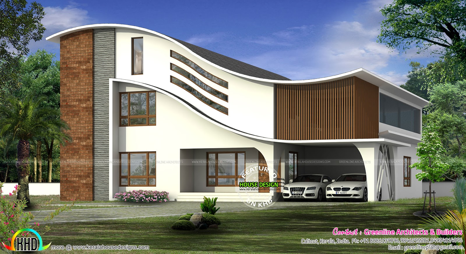 Full curved roof modern home kerala home design and for Curved roof house plans