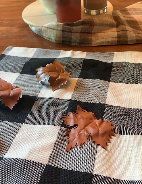 Black and White Buffalo Check Pillow Covers With Fall Leaf Appliqués