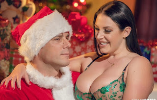 Naughty Angela White gets fucked in many positions by horny Santa