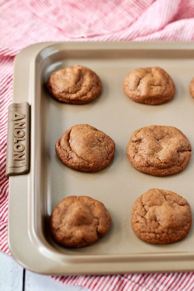Chocolate peanut butter cookies on a pan