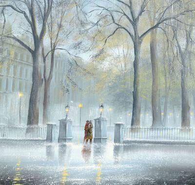 Двое под дождем, автор картины Джефф Роланд, Великобритания