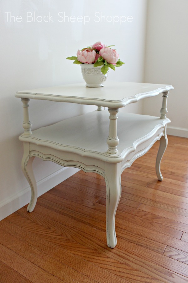 French Provincial style Mersman end table painted in Old White.