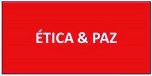 A imagem de fundo vermelho e caracteres em branco diz: ética e paz.