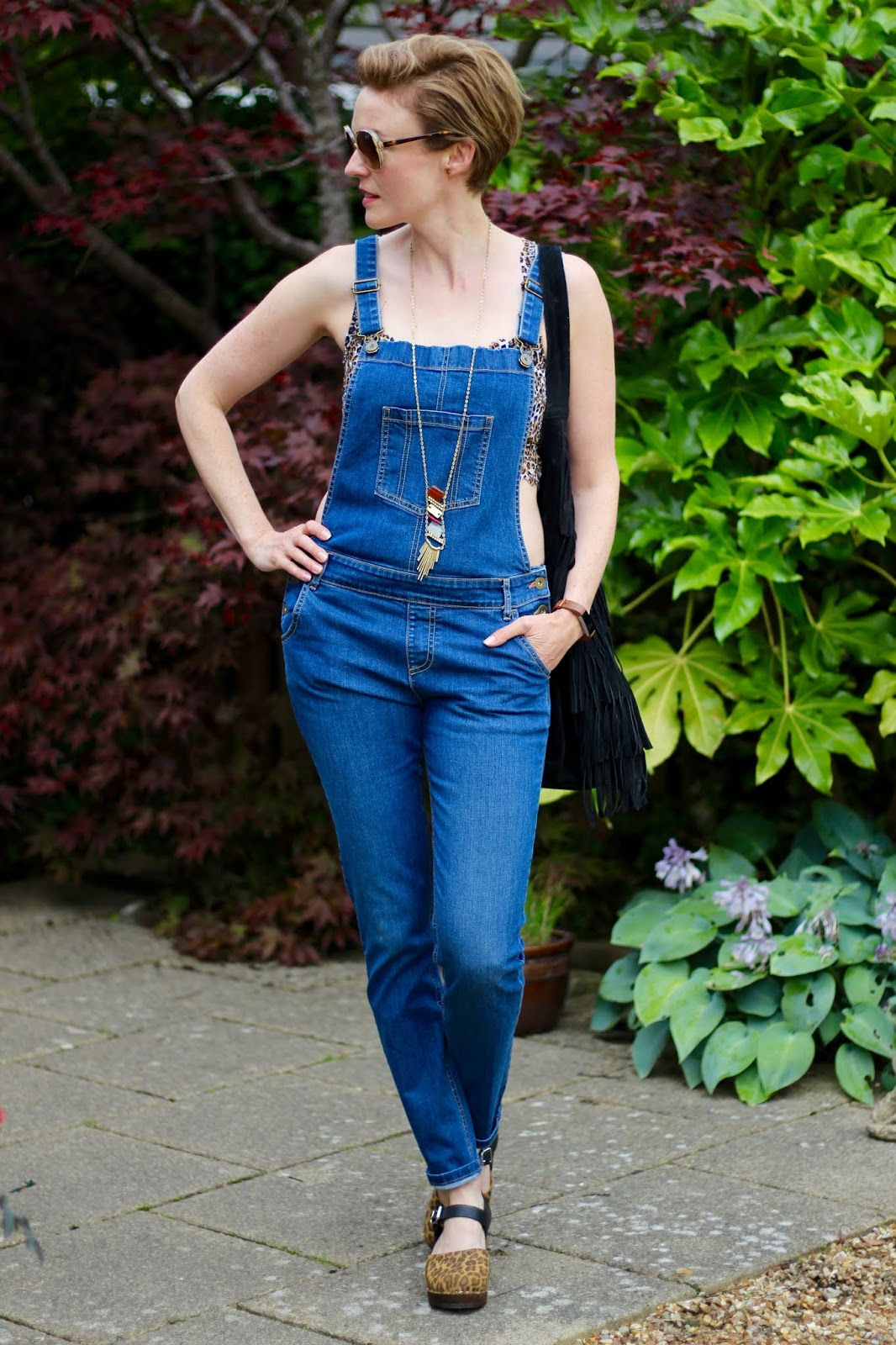 Denim Dungarees and Leopard Clogs | Fake Fabulous