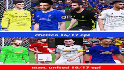 man. united & chelsea kitpack 16/17 by akmalahz