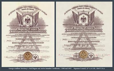 George Adelbert Newbury. 33° & Active Member certificates. 1940 & 1947. Supreme Council. Scottish Rite, NMJ
