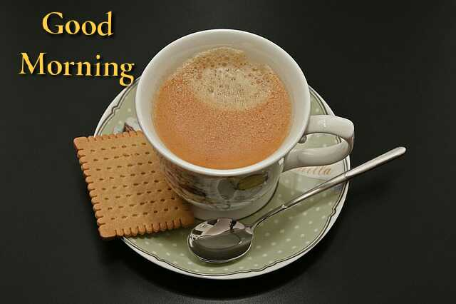 Awesome good morning photo image with coffee and snacks