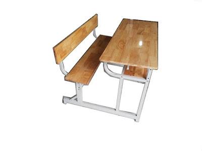 Bàn ghế học sinh khung sắt mặt gỗ