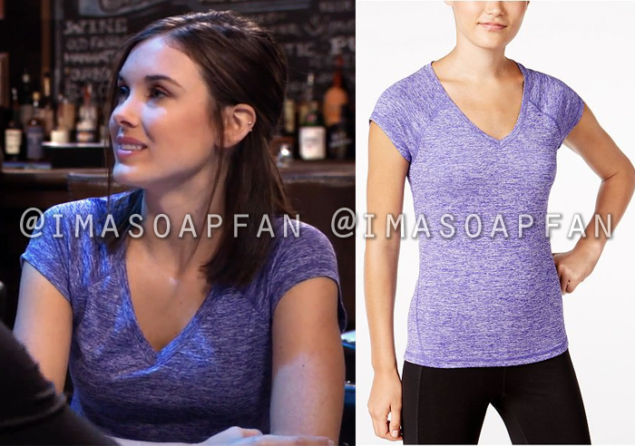 Willow Tait, Katelyn MacMullen, Purple Heather V-Neck Performance T-Shirt, General Hospital, GH