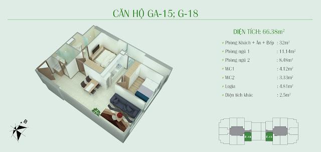 Thiết kế căn hộ 2 ngủ, diện tích 66,38m2