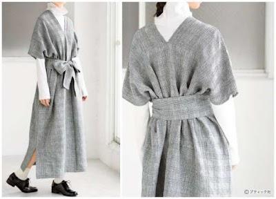 """Túnica-Vestido recto cuello """"V"""" tipo kimono"""