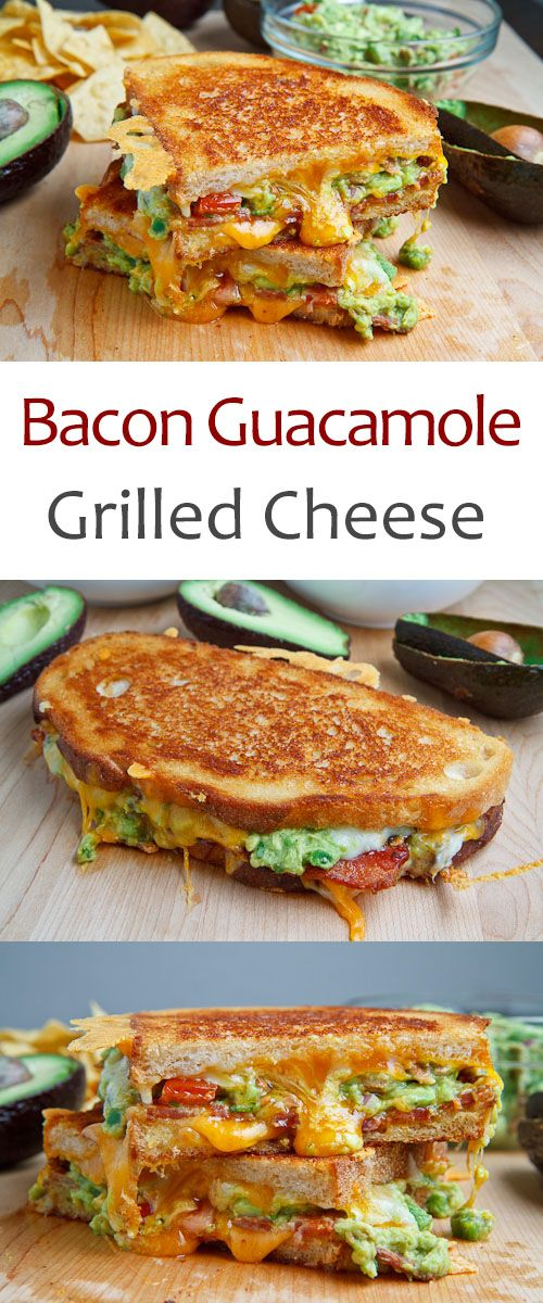 A buttery and toasty grilled cheese sandwich stuffed with cool and creamy guacamole, crispy bacon and melted jack and cheddar cheese. The crunchy crumbled tortilla chips in this grilled cheese pay tribute to the classic combination of tortilla chips and guacamole dip.
